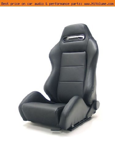 Street Imports - Pair of Ronin Leather Seats - Black, black stitching