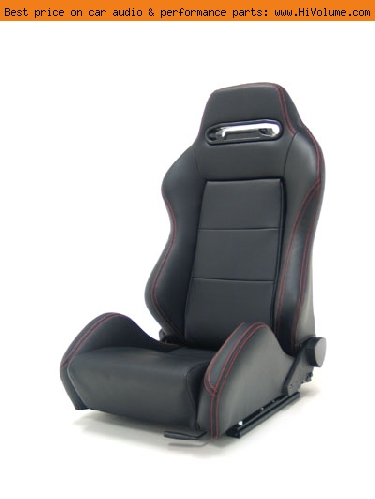 Street Imports - Pair of Ronin Synthetic Leather Seats - Black, red stitching