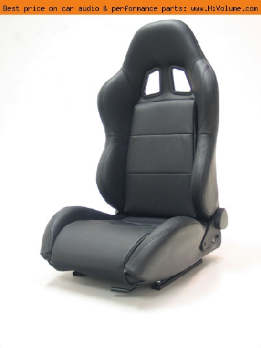 Street Imports - Pair of Samurai Leather Seats - Black, black stitching