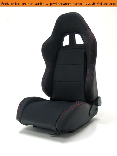 Street Imports - Pair of Samurai Leather Seats - Black, red stitching