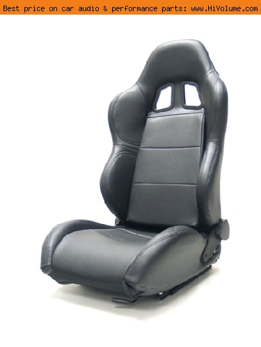 Street Imports - Pair of Samurai Synthetic Leather Seats - Black, black stitching