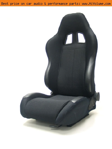 Street Imports - Pair of Samurai Cloth Seats - Black
