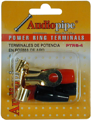 AudioPipe - Blister Pack 4 Gauge Ring Terminals - Red Black