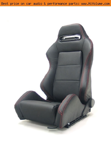 Street Imports - Pair of Ronin Leather Seats - Black, red stitching